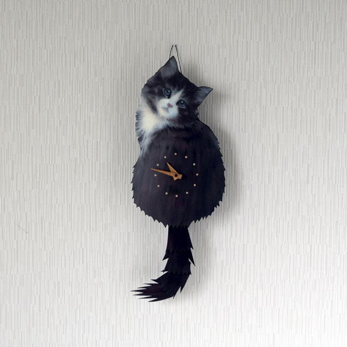 10月入荷 送料無料 藤井啓太郎 猫時計 子猫 ノルウェージャンフォレストキャット 1700860011 しっぽをふる ネコ 時計 たち吉セレクト