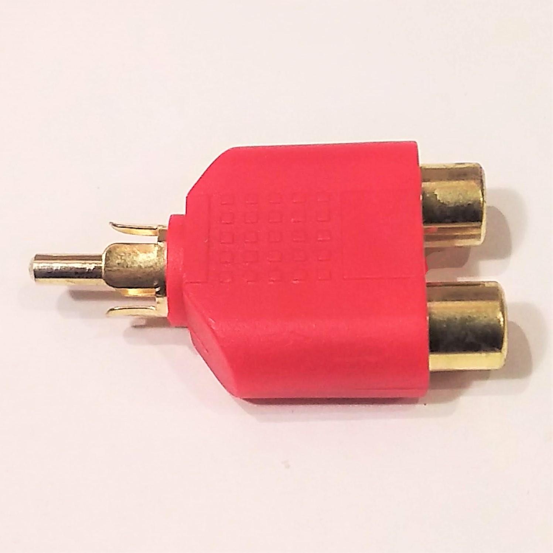 人気の定番 毎日激安特売で 営業中です RCAのオスからメスへ2分岐したもの 赤ボディ 金メッキ