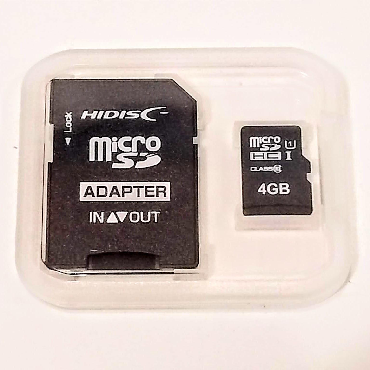 予備におひとつ microSDHCカード 4GB ケース付 送料94円 新品未使用正規品 時間指定不可 SDカード変換アダプター