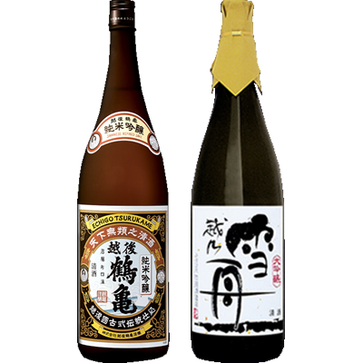 越後鶴亀 純米吟醸 1800ml 雪舟 かたふね 1800ml 2本セット 日本酒飲み比べセット