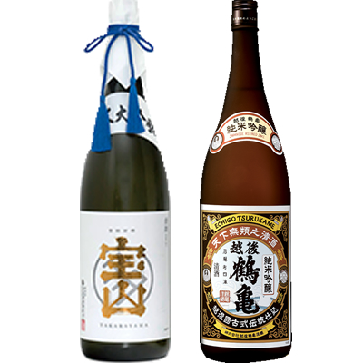 純米大吟醸 宝山 1800ml 越後鶴亀 純米吟醸 1800ml 2本セット 日本酒飲み比べセット