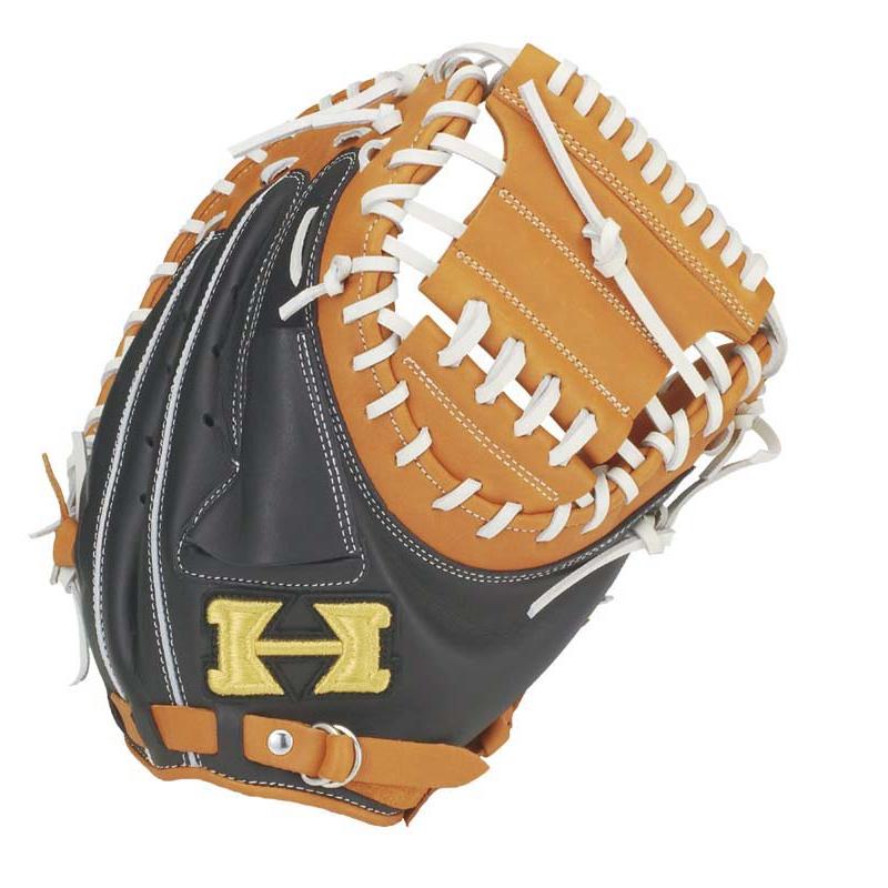 【Hi-GOLD】ハイゴールド ソフトボール用ミット ベーシックシリーズ 捕手用 オレンジ×ブラック bsg-79m