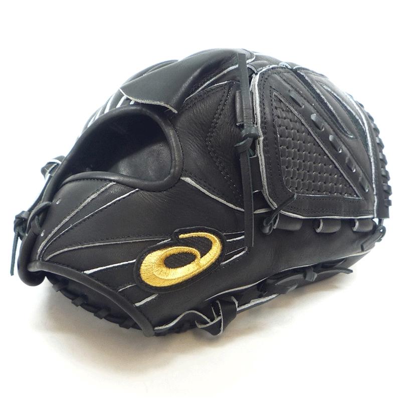 【asics】アシックス 軟式グローブ ゴールドステージ専用刺繍マーク 投手用右投げ ブラック asics-n1