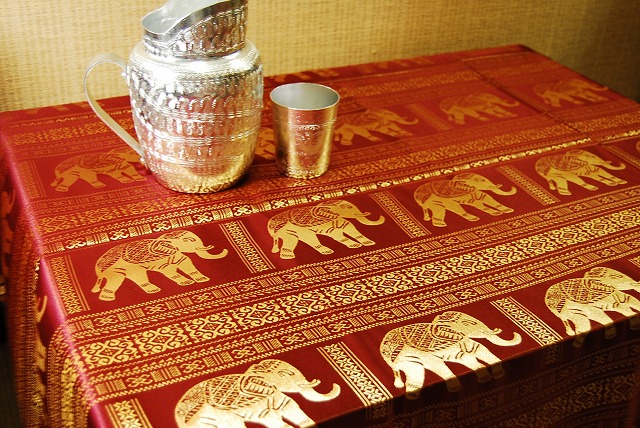 02P24Jun13 Asian タイテキ Style Asian Tablecloth Pattern (total Elephant  Pattern Dark Red )