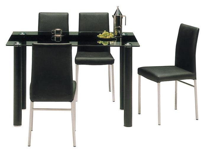カフェ ガラスリビング ダイニングテーブルセット 5点セット ヴォーグ(ブラック/黒)