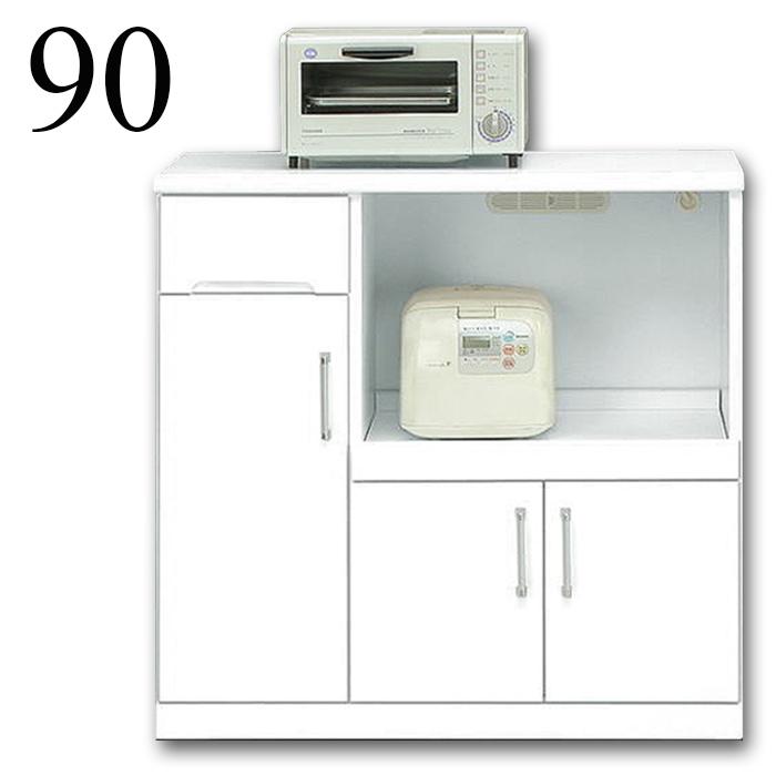 【国産】 90cm キッチンカウンター クリスタル