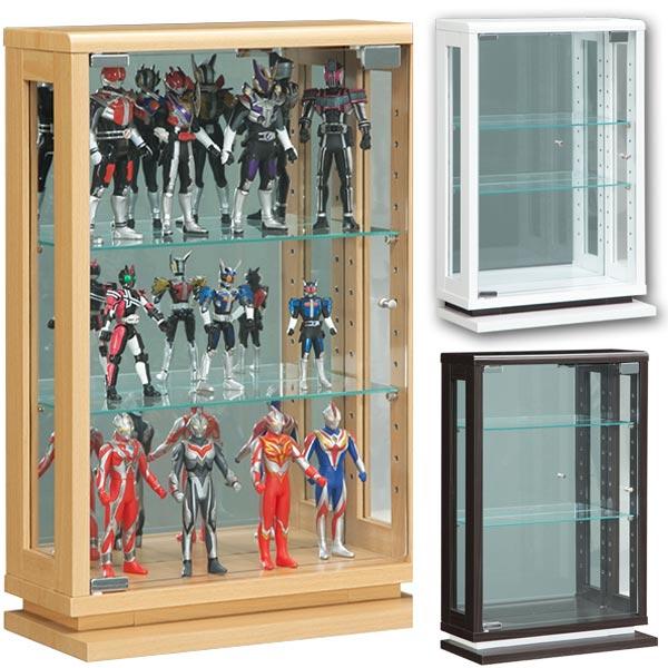 コレクションケース 幅40cm コレクションボード 完成品 ミニ ガラス扉 木製 LEDライト コンパクト リビングボード ナチュラル ホワイト ブラウン