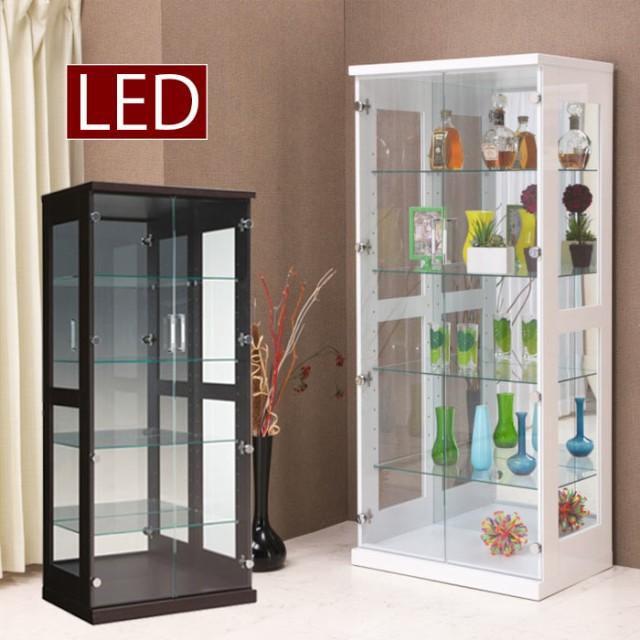 コレクションケース ショーケース 幅70cm LEDライト 照明 リビング収納 フィギュアラック 木製 ガラス扉 コレクションボード ホワイト ブラウン 白 茶 ハイタイプ