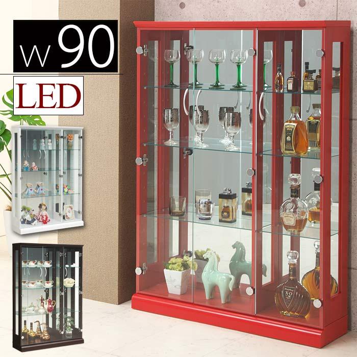ショーケース コレクションケース 幅90cm LEDライト 照明 スリム 収納 フィギュアラック 木製 ガラス扉 コレクションボード ホワイト ブラウン レッド 白 茶 赤 完成品
