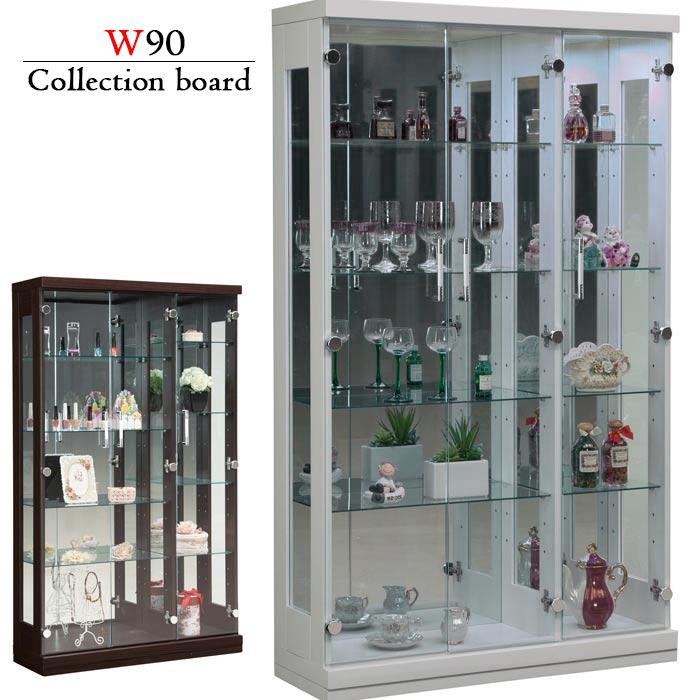 コレクションケース 飾り棚 幅90cm コレクションボード ハイタイプ 完成品 壁面収納 LEDライト 照明 ガラス扉 木製 モダン フィギュアラック ショーケース 大容量