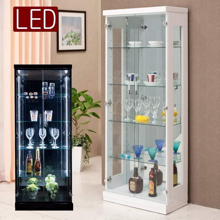 コレクションケース ショーケース 幅60cm コレクションボード ハイタイプ 完成品 壁面収納 LEDライト 照明 ガラス扉 木製 モダン フィギュアラック 飾り棚