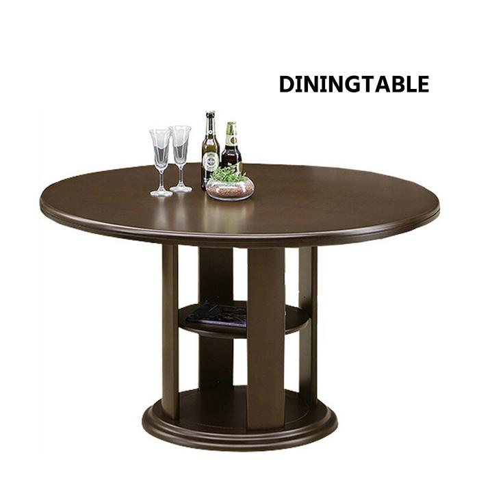 ダイニングテーブル 単品 丸テーブル 円卓 丸型 棚付き ダークブラウン