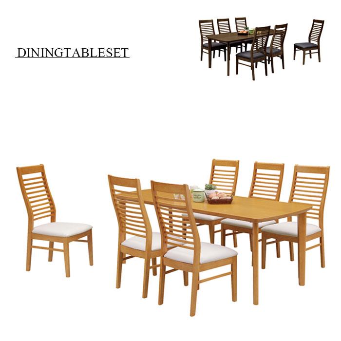 ダイニングセット 7点セット ダイニングテーブルセット 6人掛け 6人用 オーク突板 木製 合成皮革 ハイバックチェア 180テーブル モダン シンプル 食卓セット