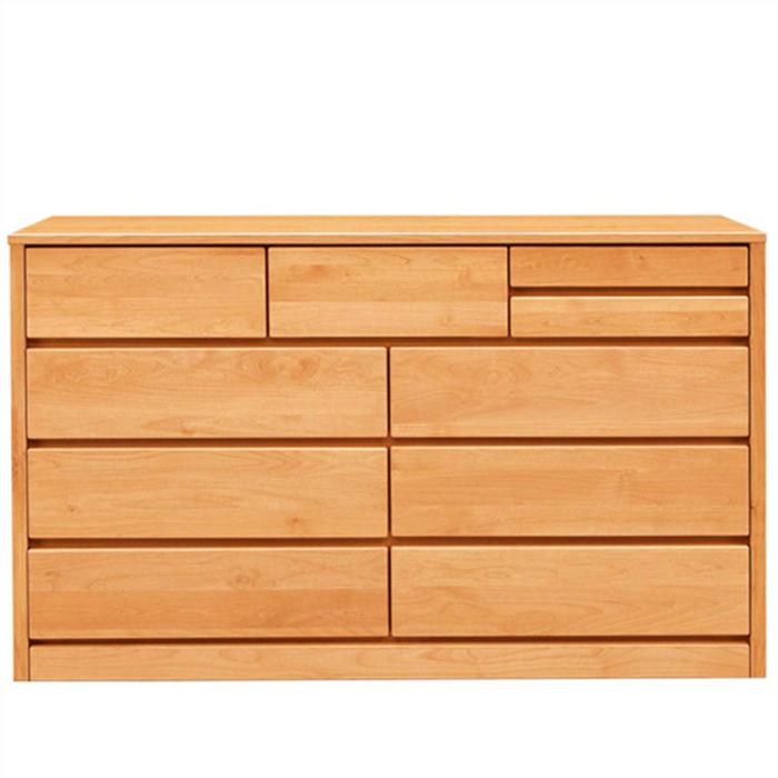 ワイドチェスト タンス ローチェスト 幅150cm 完成品 4段 北欧 アルダー無垢 木製家具 リビング収納 国産 ロータイプ 大容量