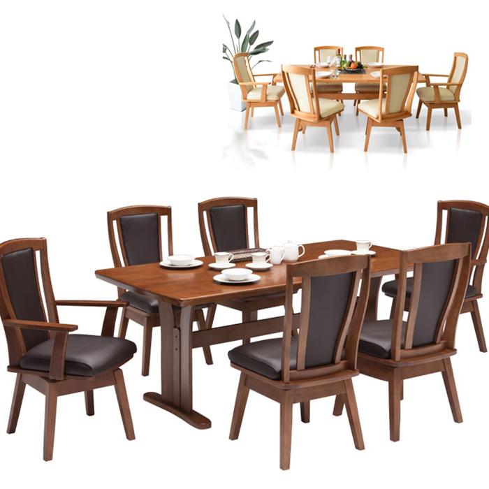 ダイニングテーブルセット 6人掛け 6人用 ハイバックチェア 回転イス 食卓テーブルセット モダン ダイニング7点セット ラバーウッド無垢 180テーブル 木製
