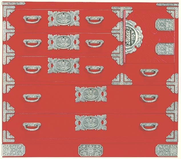 民芸箪笥 和たんす 和風 宝箪笥 105cm整理箪笥 朱塗 筑後民芸