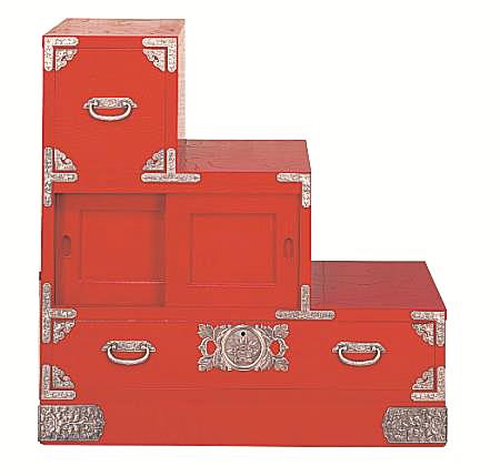 民芸箪笥 和たんす 和風 宝箪笥 84cm彩り階段箪笥 朱塗 筑後民芸