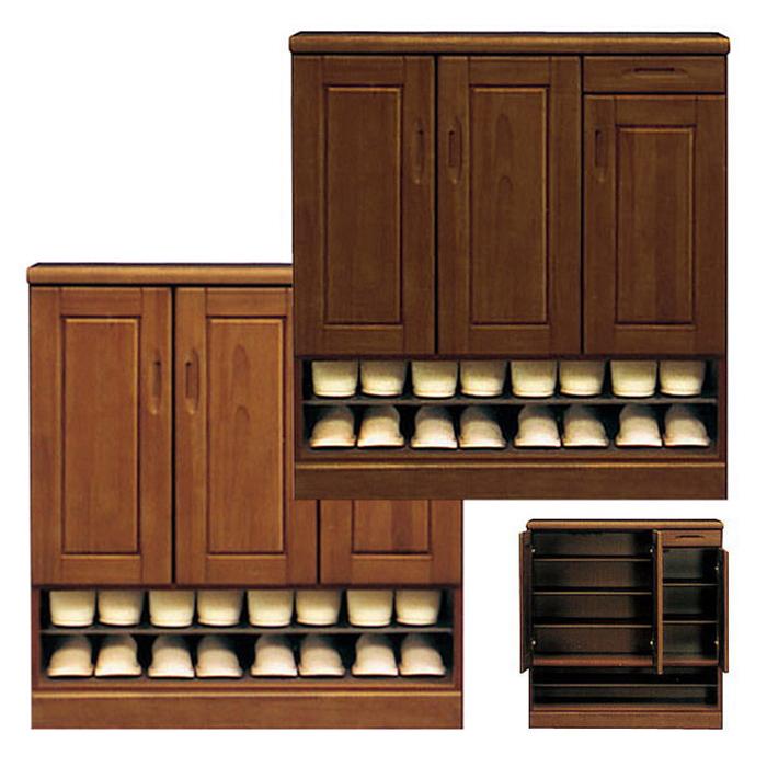 下駄箱 靴箱 無垢 木製 完成品 玄関収納 国産 幅90cm ロータイプ プラスチック製棚板 ケント