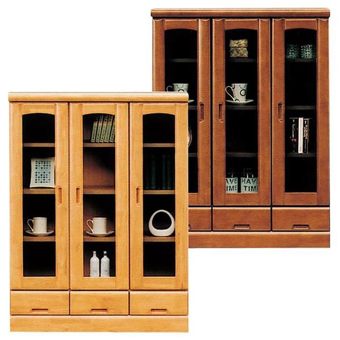 本棚 書棚 完成品 幅90cm リビングボード ガラス扉付き 引き出し収納付き 日本製 ブックシェルフ 木製 モダン ロータイプ