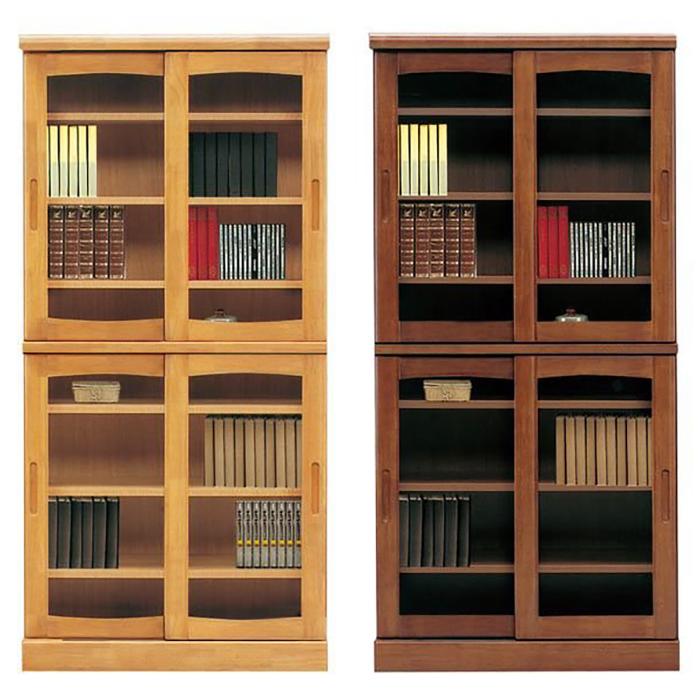 本棚 書棚 引き戸 完成品 幅85cm リビングボード ガラス扉付き 日本製 ブックシェルフ 木製 モダン リビング収納 ハイタイプ