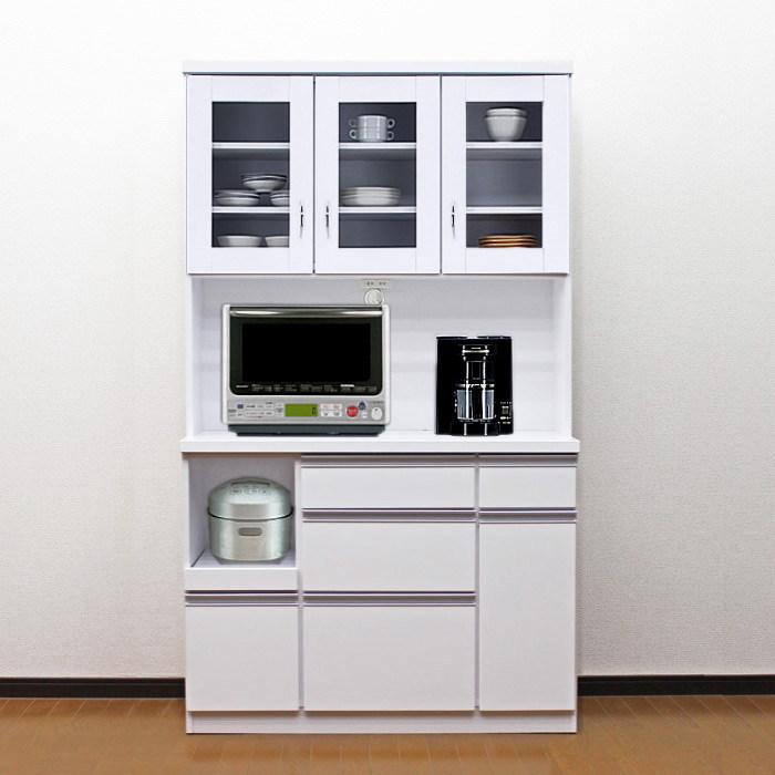 食器棚 国産 【アウトレット】 レンジ台 国産 完成品 開き戸 幅105cm ロータス2 (ホワイト/白)
