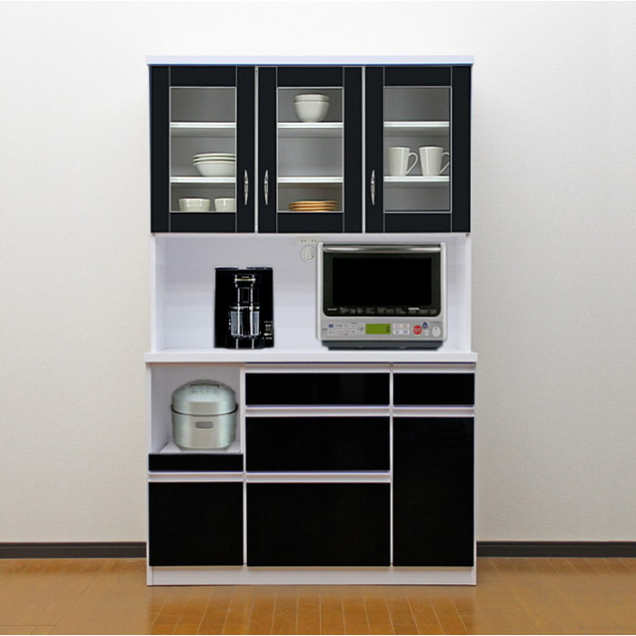 食器棚 国産 【アウトレット】 レンジ台 国産 完成品 開き戸 幅105cm ロータス2 (ブラック/黒)