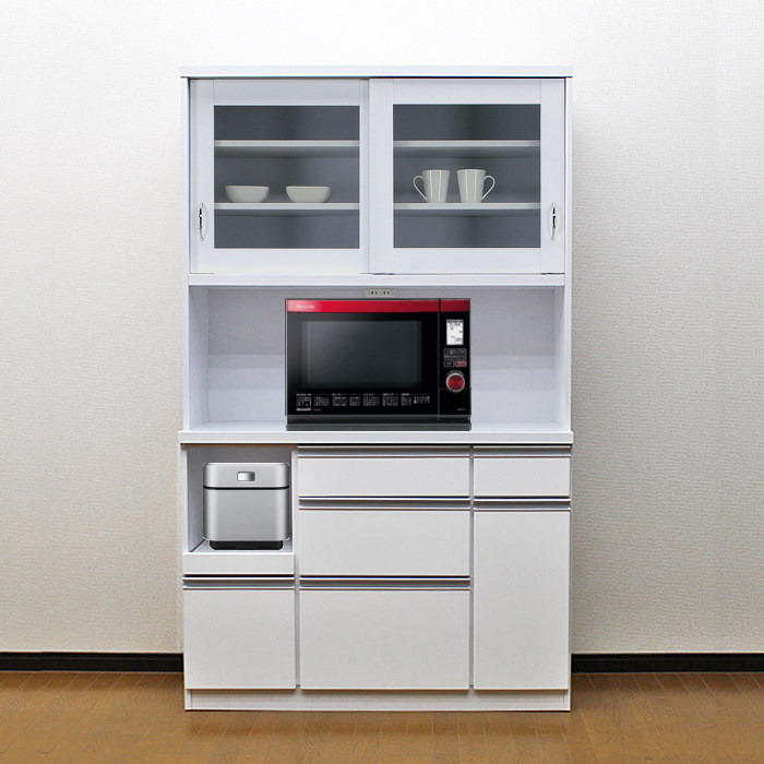 食器棚 国産 【アウトレット】 レンジ台 国産 完成品 引き戸 幅105cm ロータス2 (ホワイト/白)