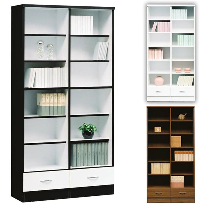 オープンシェルフ 書架 書斎 幅90cm リビング収納 書棚 リビングボード ブックシェルフ ラック 引き出し付き ハイタイプ ディスプレイ 安い 間仕切り DLY