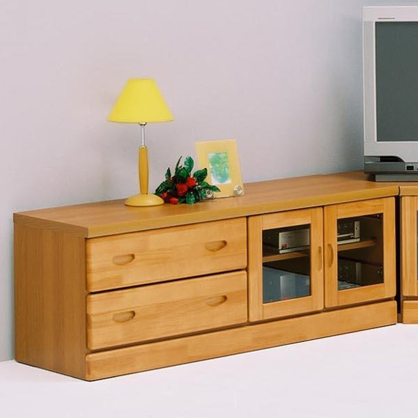 コーナーテレビボード ローボードのみ 完成品 幅120 パイン無垢 木製 ナチュラル モダン 家電収納 日本製