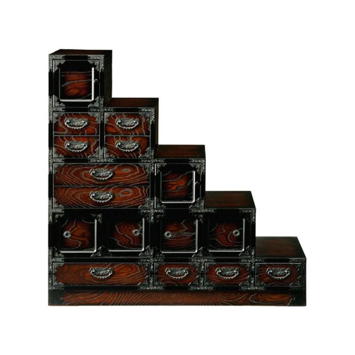 民芸家具 和たんす 和風 階段箪笥 113cm 階段ダンス(右下り) 三丸民芸