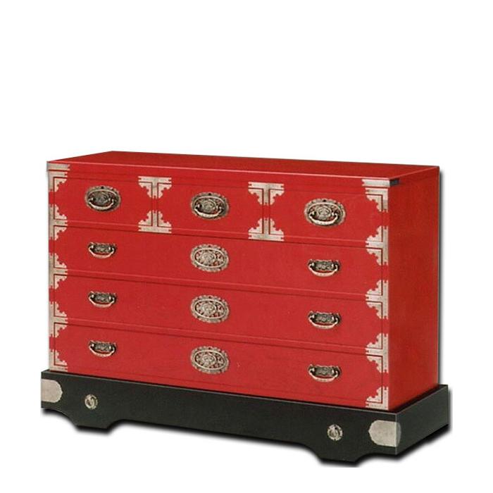 民芸箪笥 和たんす 和風 120cm 車箪笥(赤色) 三丸民芸