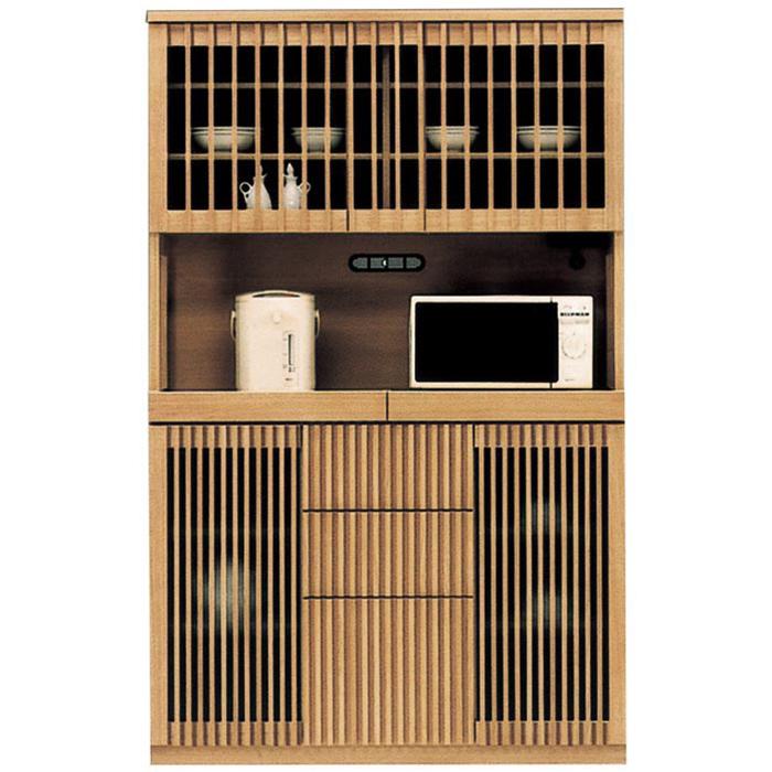 レンジ台 食器棚 完成品 和風 幅120cm キッチン収納 レンジボード 日本製 国産 モダン タモ無垢 キッチンボード 木製 ガラス扉 引き出し