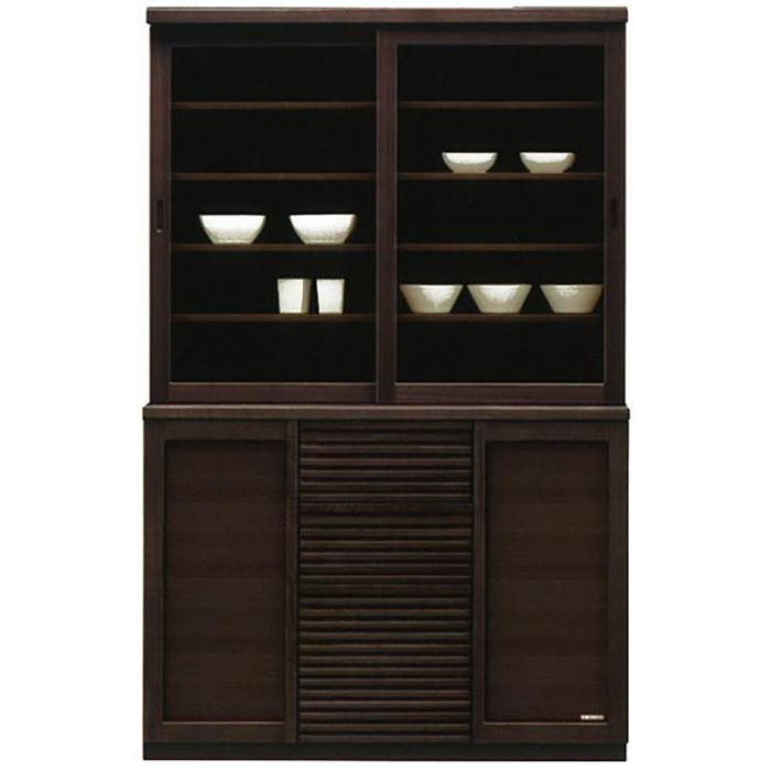 食器棚 引き戸 和風 完成品 幅120cm キッチン収納 カップボード ダイニングボード キッチンボード ブラウン 木製 和モダン 日本製