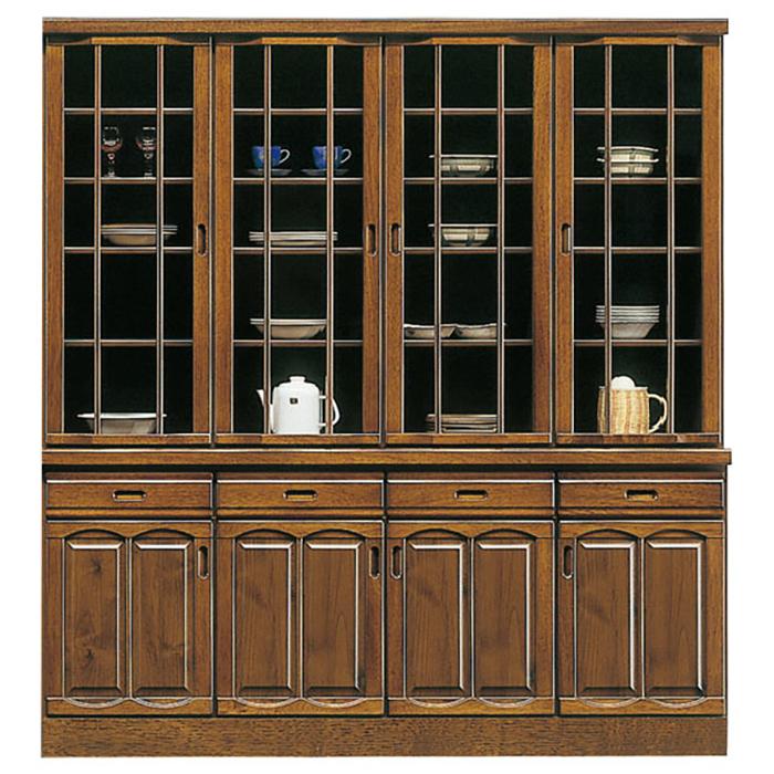 食器棚 完成品 幅180cm ダイニングボード キッチン収納 木製 ガラス扉 キッチンボード 開戸 引き出し レトロモダン 日本製