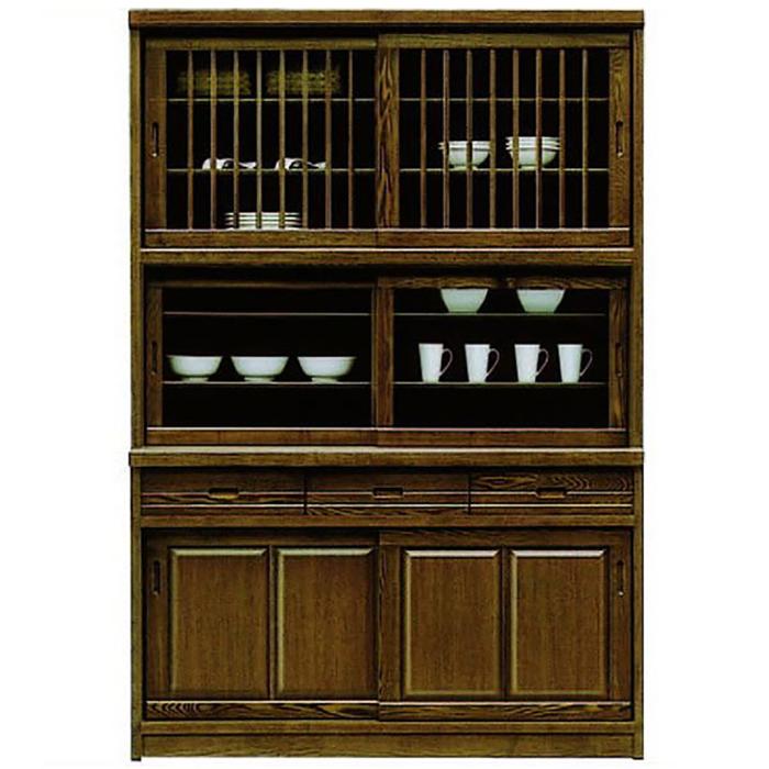 食器棚 完成品 幅135cm 引き戸 和モダン 和風 キッチンボード 木製 収納家具 ダイニングボード タモ無垢 大容量 ハイタイプ