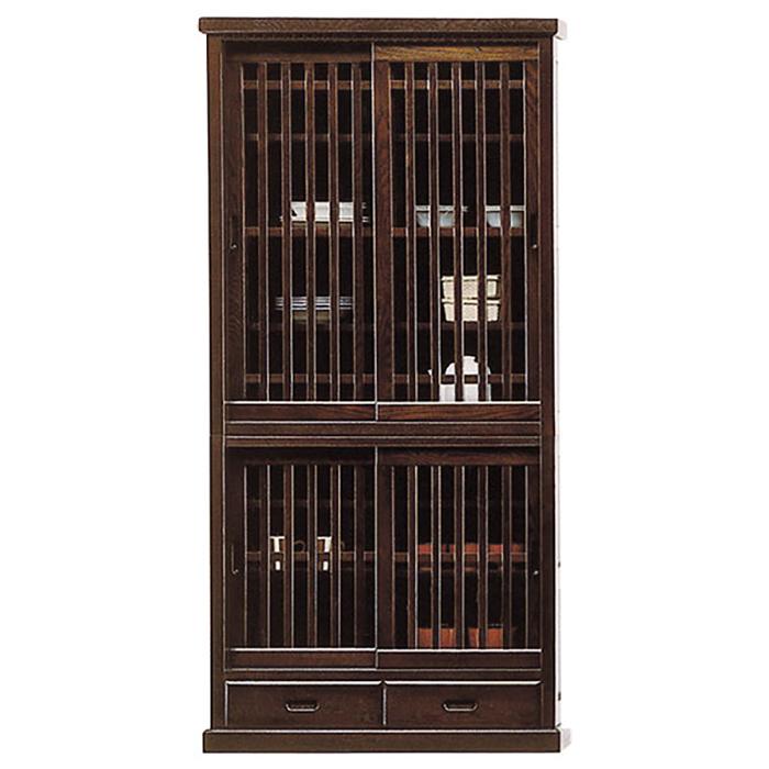 食器棚 完成品 和風モダン 引き戸 幅90cm カップボード タモ 木製 ガラス扉 格子 収納