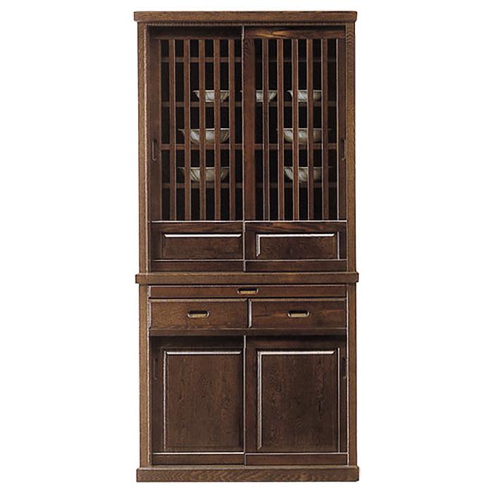 食器棚 完成品 幅90cm ダイニングボード 和風モダン 引き戸 タモ 木製 キッチン収納