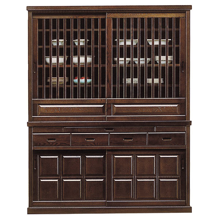 食器棚 幅150cm 完成品 引き戸 キッチンボード 格子扉 収納 タモ 和風モダン 大容量 大型