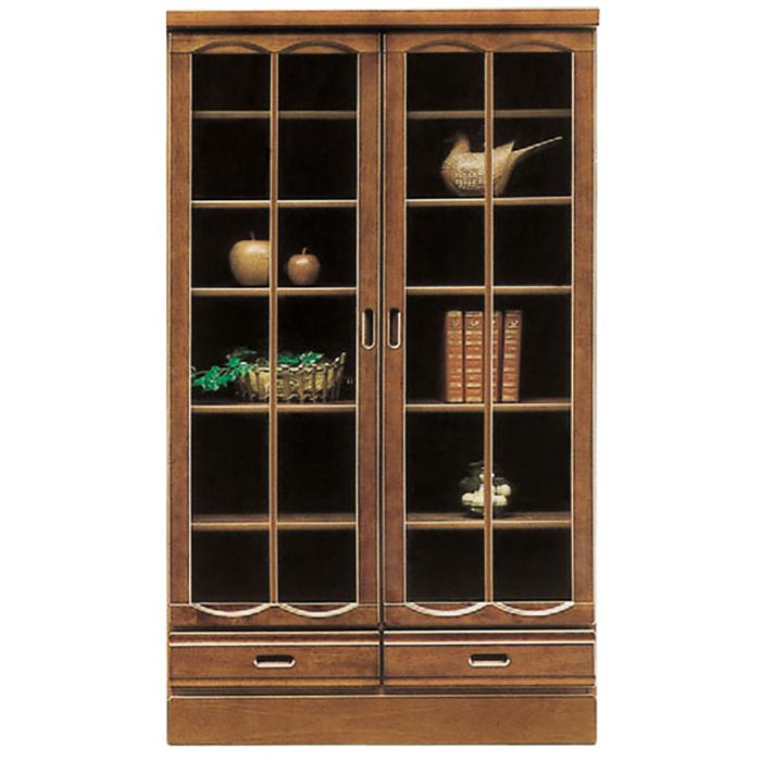 本棚 リビングボード ガラス扉 書棚 完成品 和風モダン 幅90cm