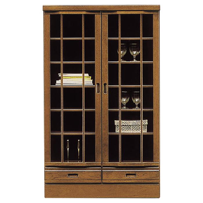 本棚 リビングボード 書棚 リビングボード ガラス扉 完成品 和風モダン