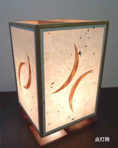 角行灯 SWサイズ 手漉楮和紙 松皮紙/ツキ板デザイン2