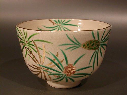 茶道具 抹茶茶碗色絵 高野槙図、京都 相模竜泉作