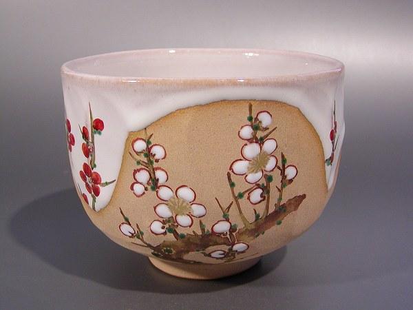 茶道具 抹茶茶碗灰釉 紅白梅絵京焼 伝統工芸士 三代 中村秋峰作