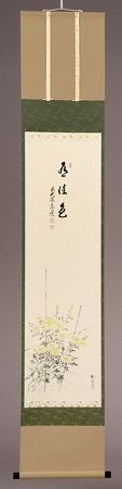 茶道具 書 掛軸 縦物 画賛、間垣菊の画 「有佳色」、足立泰道 和尚 賛