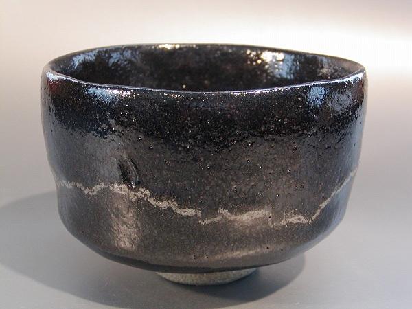 茶道具黒楽茶碗 白幕ぐすり N11高台寺窯作