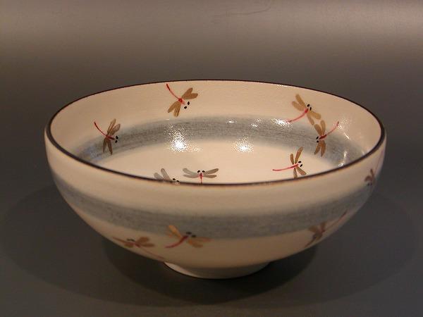 茶道具 抹茶茶碗蜻蛉(トンボ)絵 馬盥(ばだらい)山川敦司作