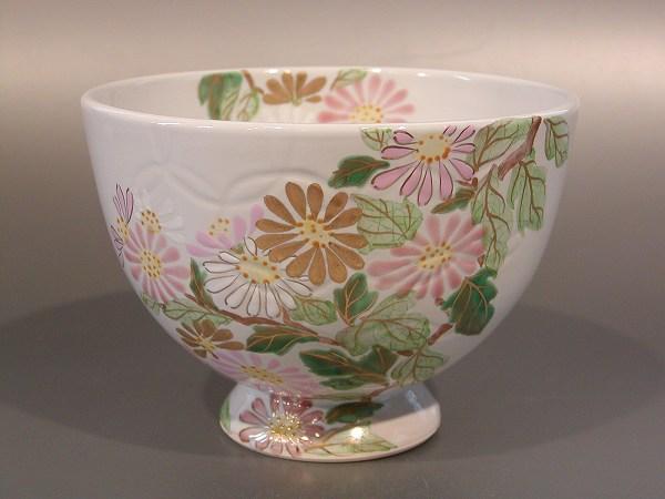茶道具 抹茶茶碗七宝地紋 野路菊 (のじぎく)水出宋絢作