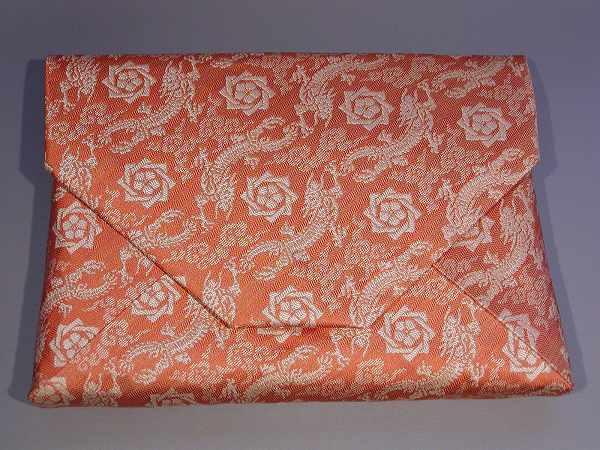 茶道具 数寄屋袋(すきや袋)「龍馬紋」 錆朱正絹 京都 西陣織