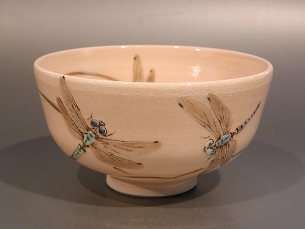 茶道具 抹茶茶碗蜻蛉(トンボ)絵京焼 山川敦司 作