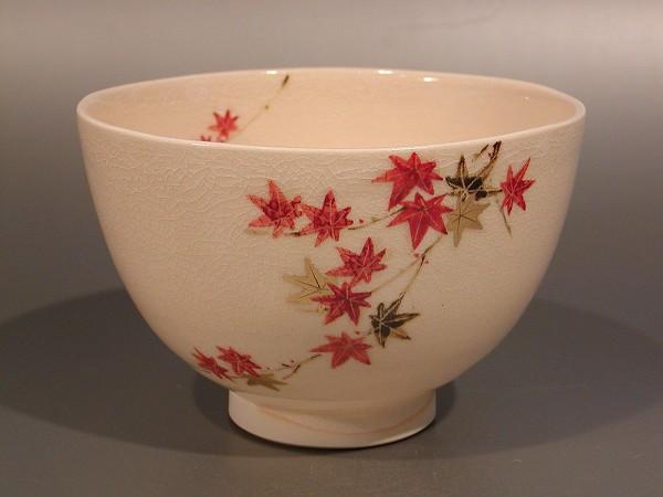 茶道具 抹茶茶碗紅葉(もみじ)絵京焼 山川敦司作
